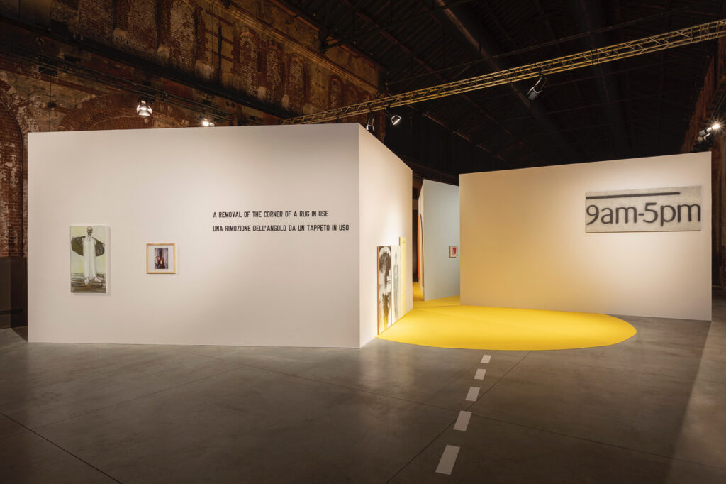 Marlene Dumas The Prophet, 2004. Aurelio Amendola Alberto Burri, Morra, Combustion, 1977. Lawrence Weiner A REMOVAL OF THE CORNER OF A RUG IN USE, 1969. Edward Ruscha 9 to 5, 1991.